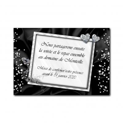 petite carte repas avec diamant en noir et blanc