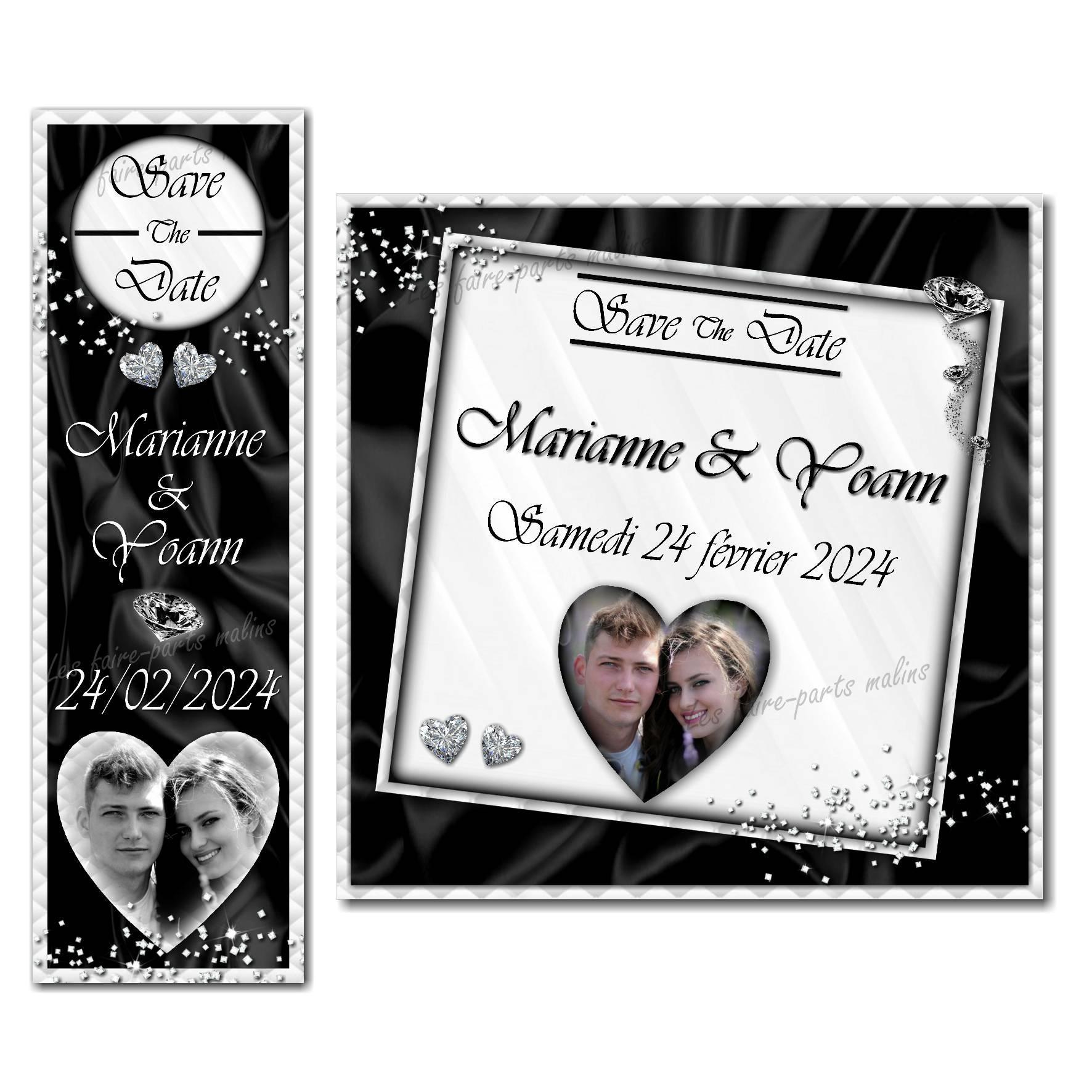 save the date diamant en noir et blanc