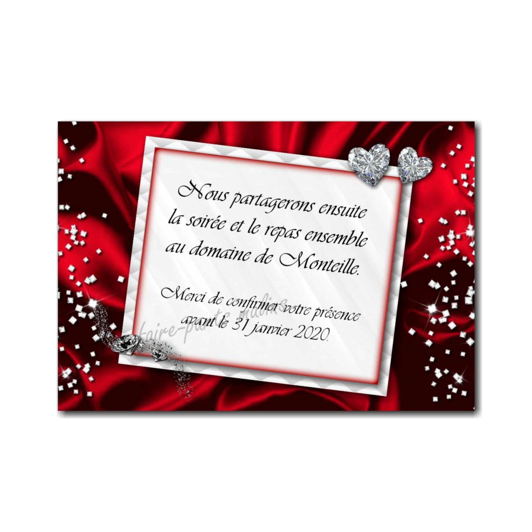 40 mariage rouge petite carte