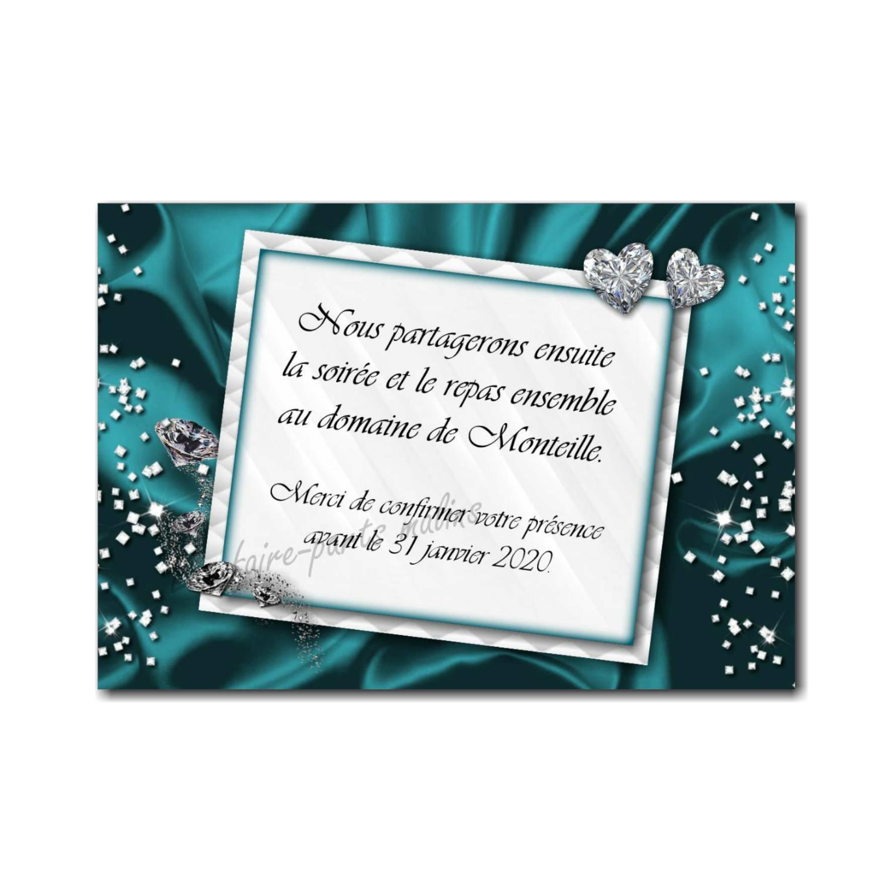 petite carte repas avec diamant en bleu et blanc