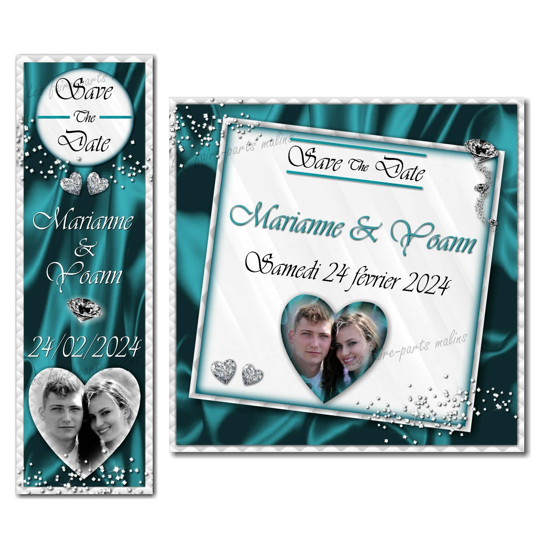 save the date diamant en turquoise et blanc