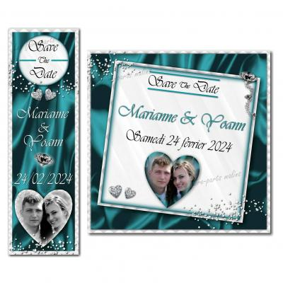 save the date diamant en turquoise et blanc