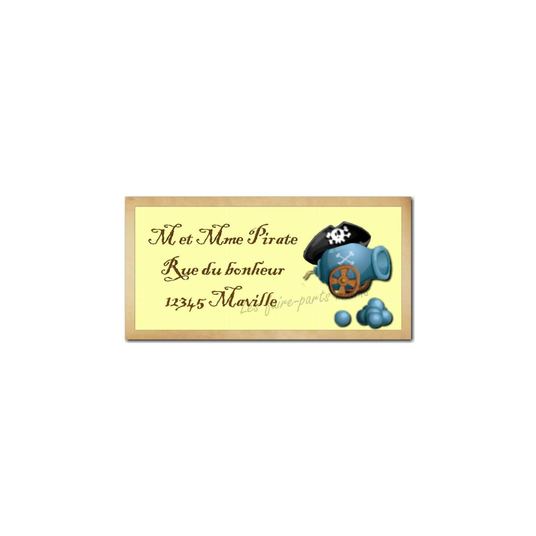 étiquette adresse pirate
