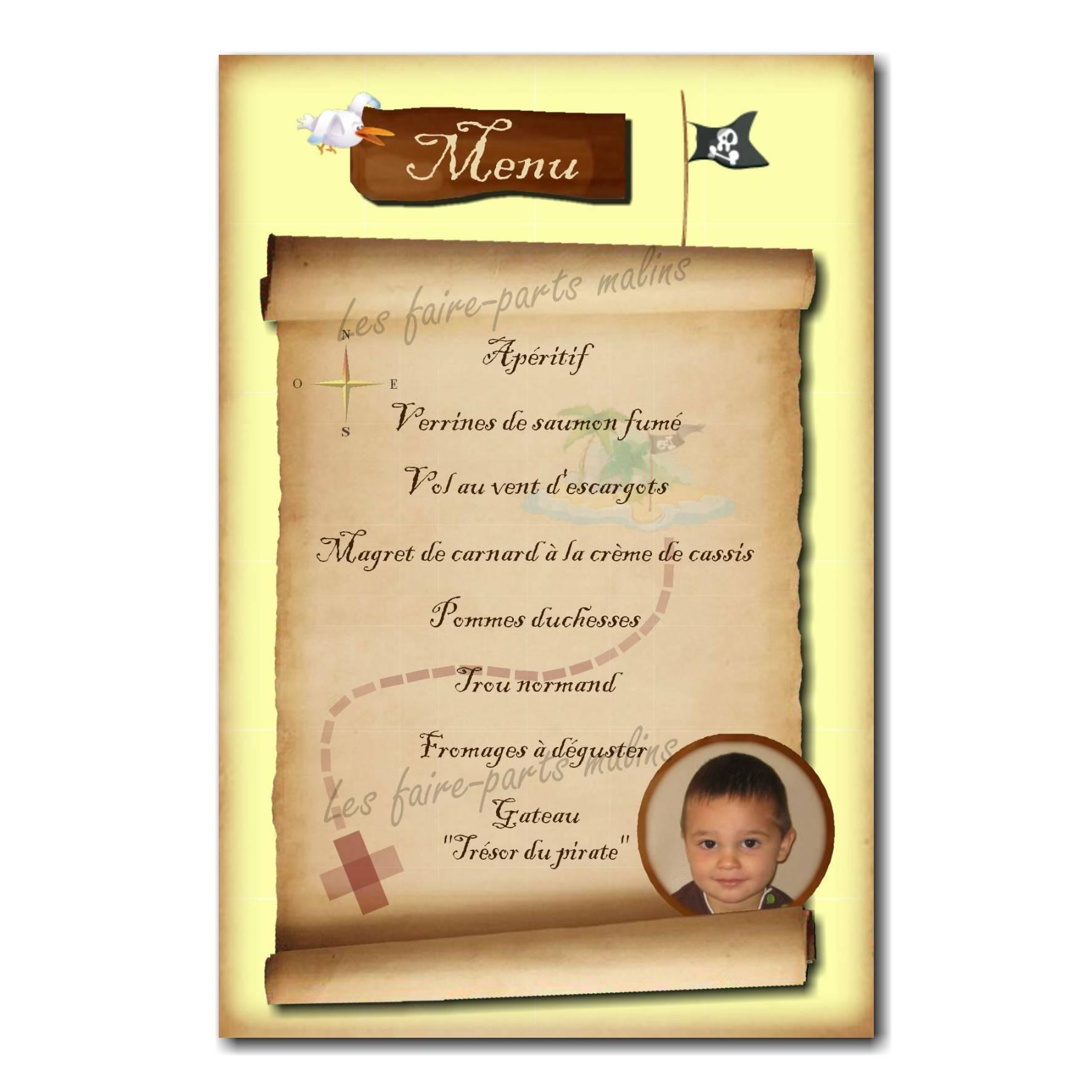 carte de menu avec photo carte aux trésors pirate