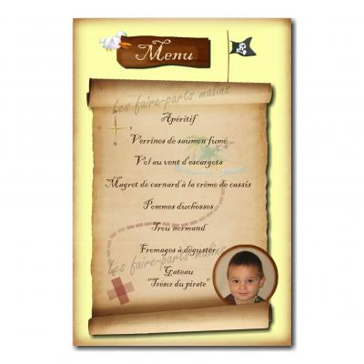 carte de menu avec photo carte aux trésors pirate