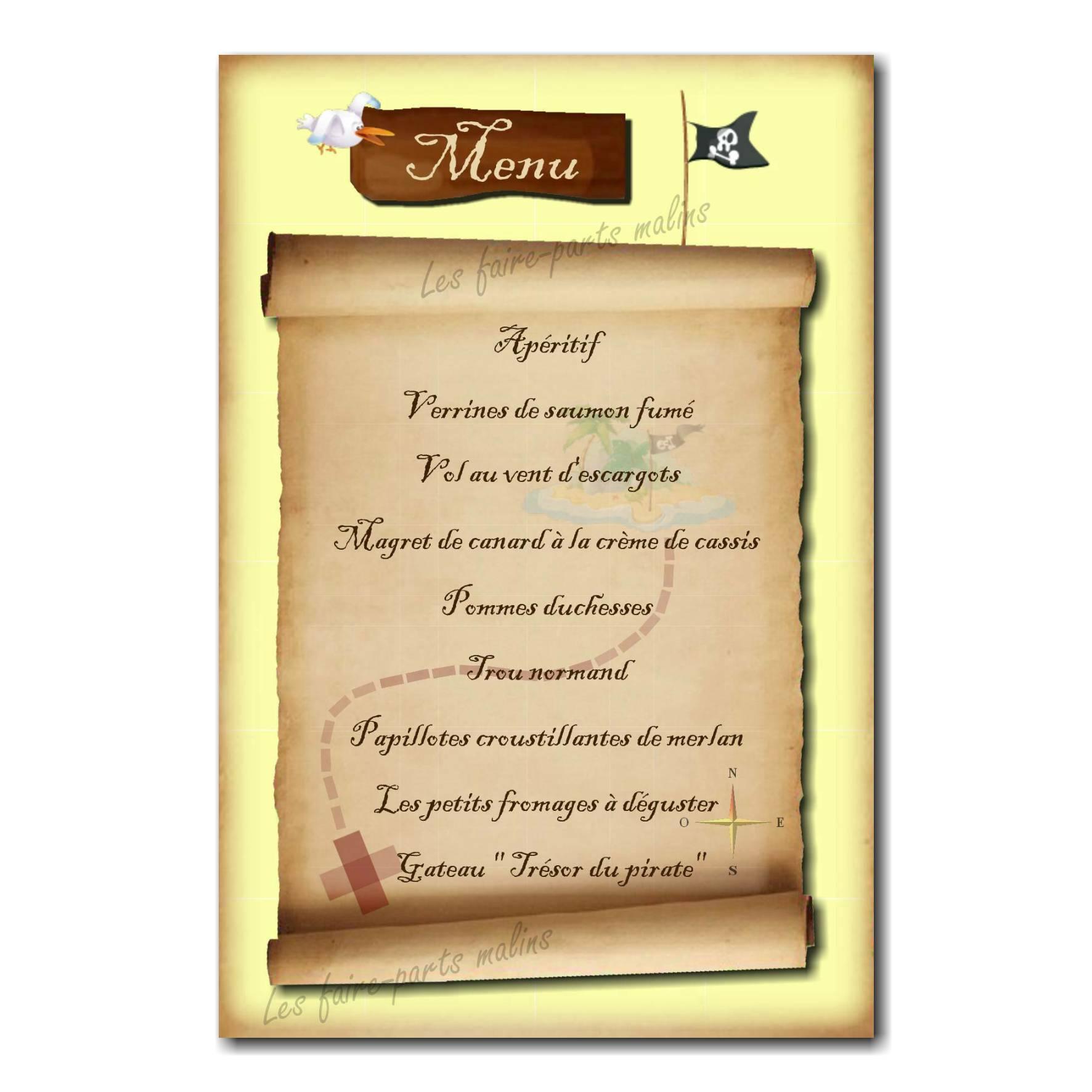 carte de menu avec plan de carte aux trésors pirate