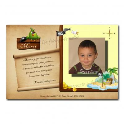 carte de remerciements pirate et trésor