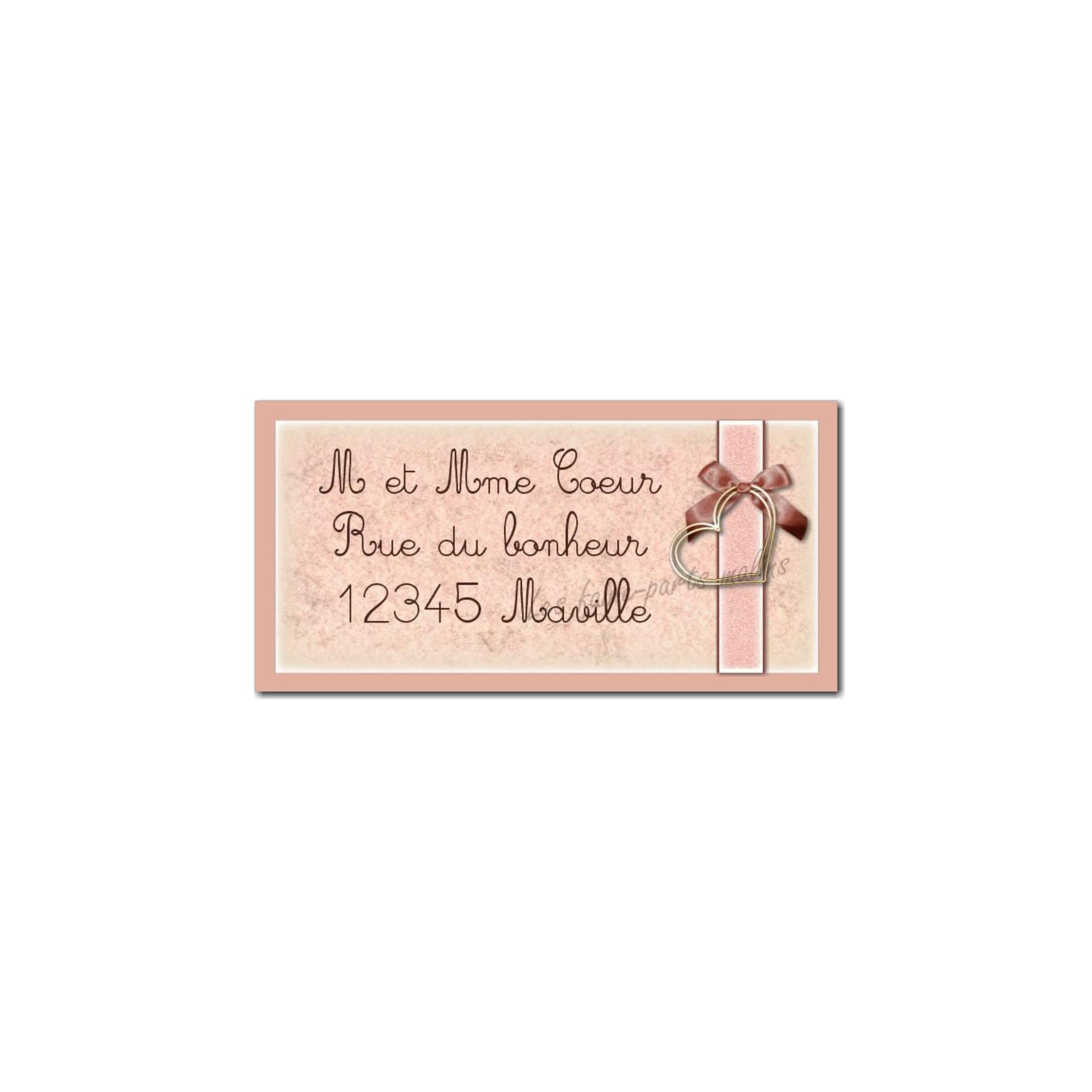 étiquette adresse ruban et coeur