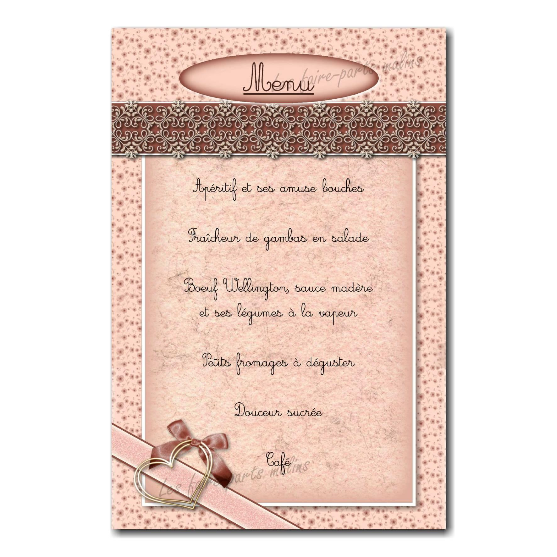 Menu coeur ruban marron clair romantique