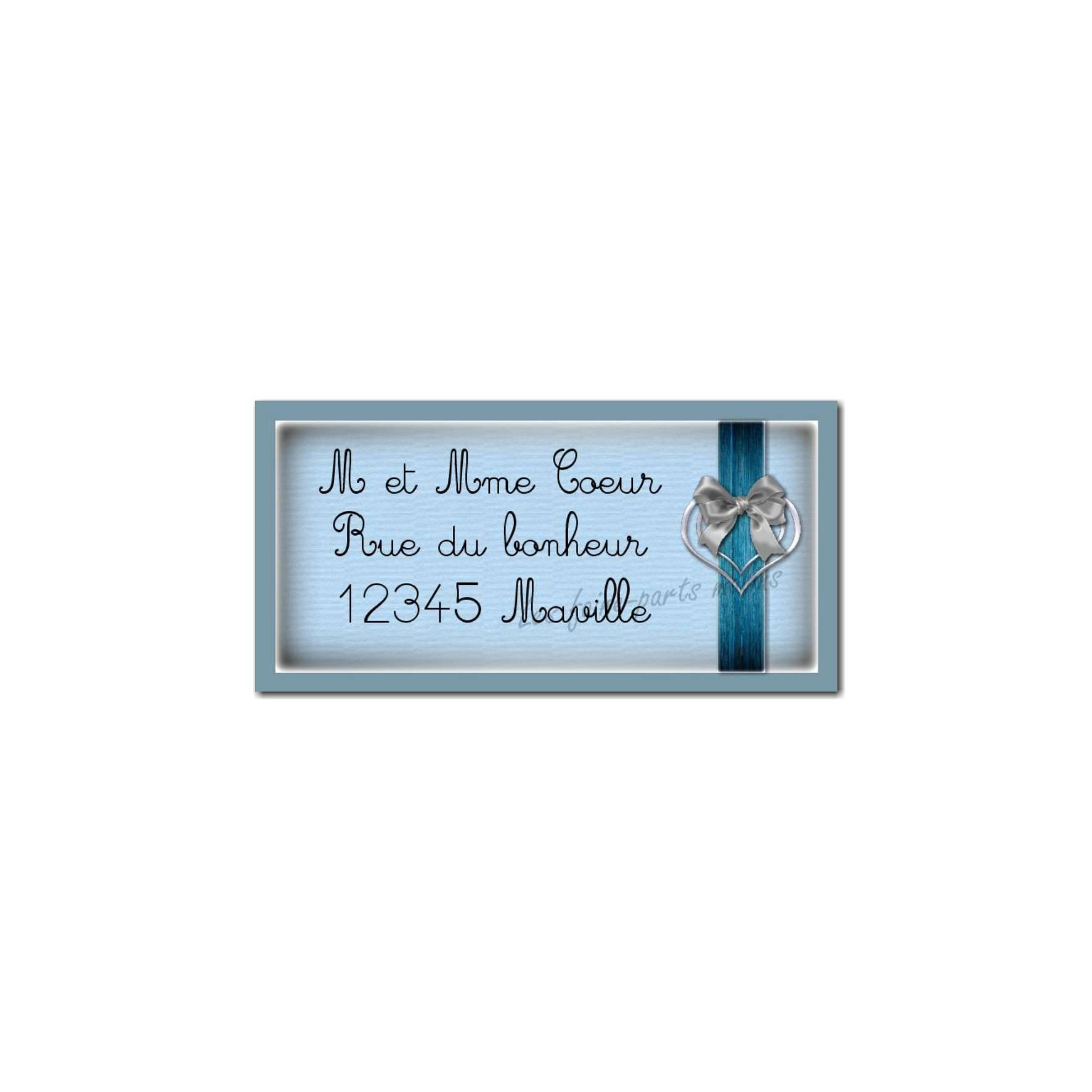 étiquette adresse ruban bleu dans coeur
