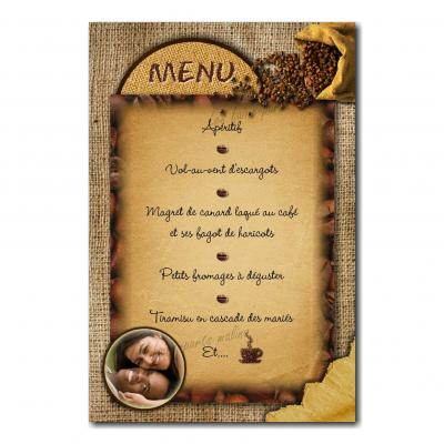 carte de menu grain de café toile de jute marron
