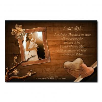 Faire part fond bois lumière et coeur anniversaire de mariage