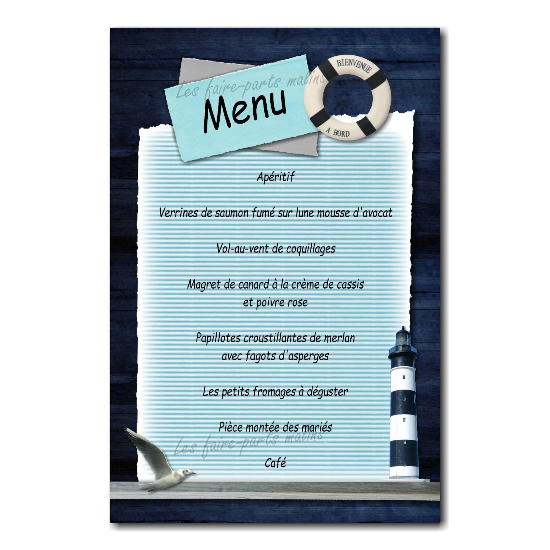 carte de menu bouée marine sur fond bleu avec mouette
