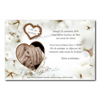 Faire part sur fond de coton anniversaire de mariage 1 an blanc pureté