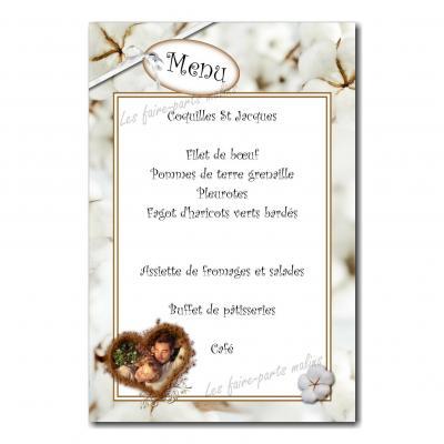 carte de menu 1 an de mariage coton blanc