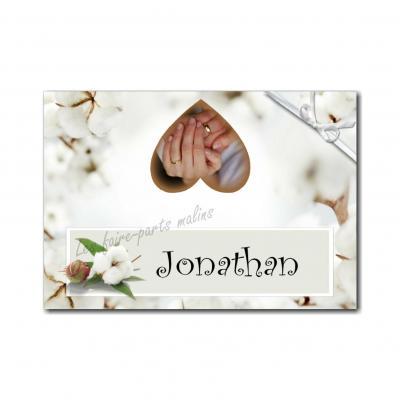 marque-place avec photo anniversaire de mariage coton