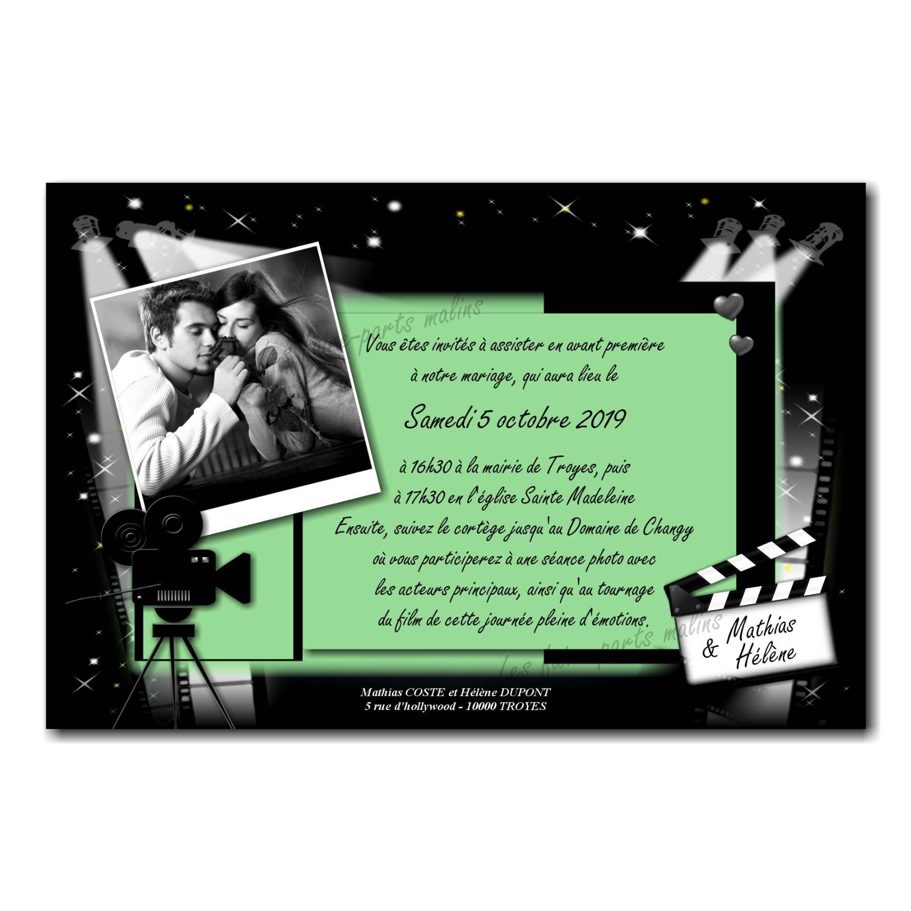 Faire part cinéma en noir et vert avec clap de moteur et projecteur