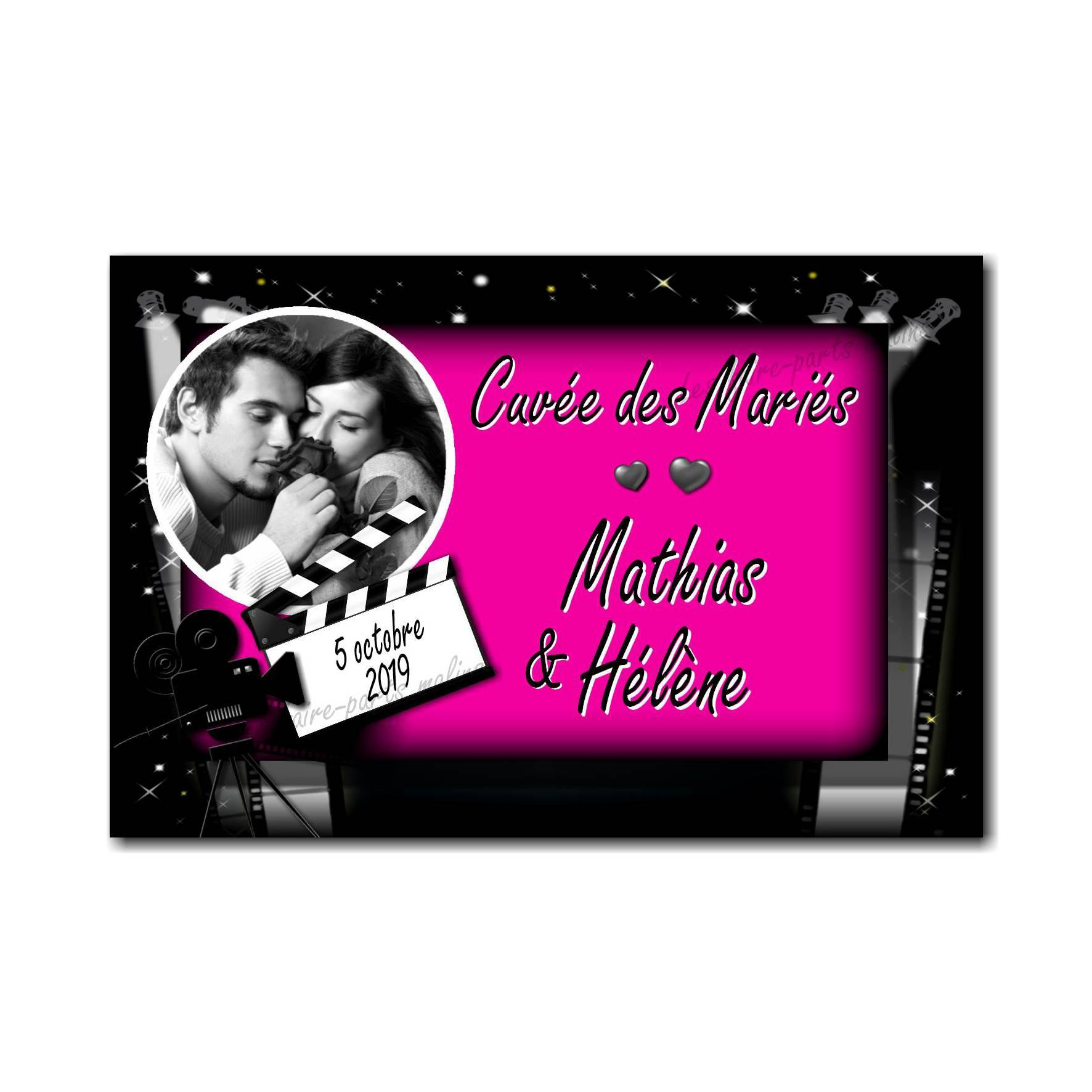 Etiquette bouteille rose et noir cinéma glamour