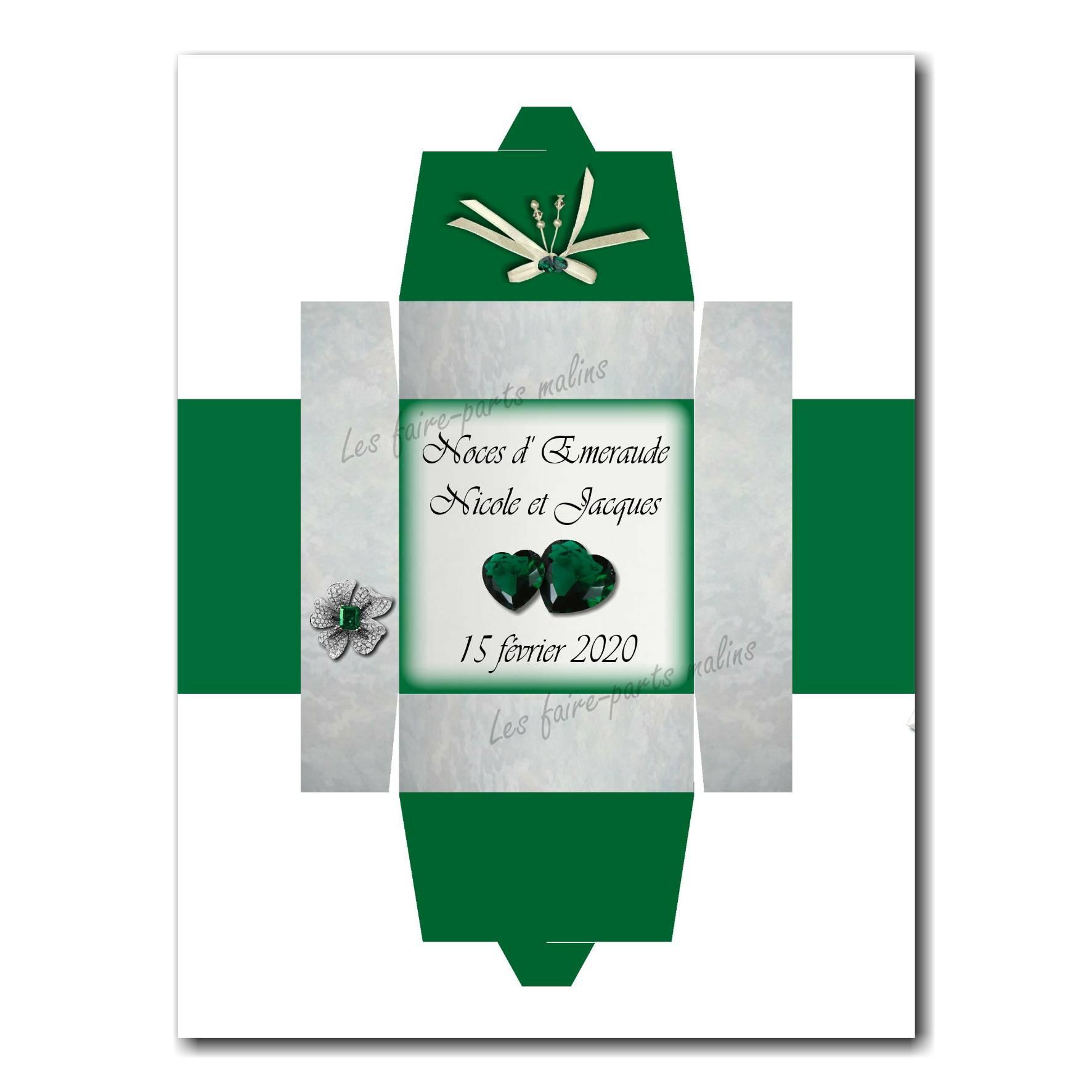 Boite noces d'émeraude vert et blanc