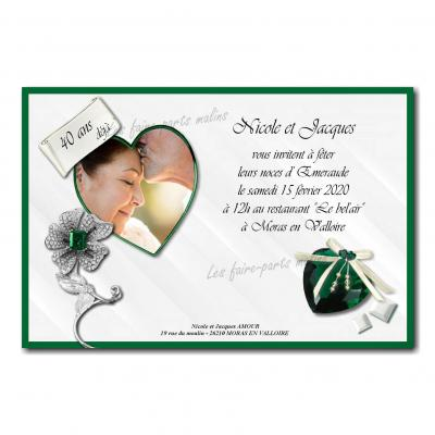 Faire part emeraude noce de mariage vert et blanc