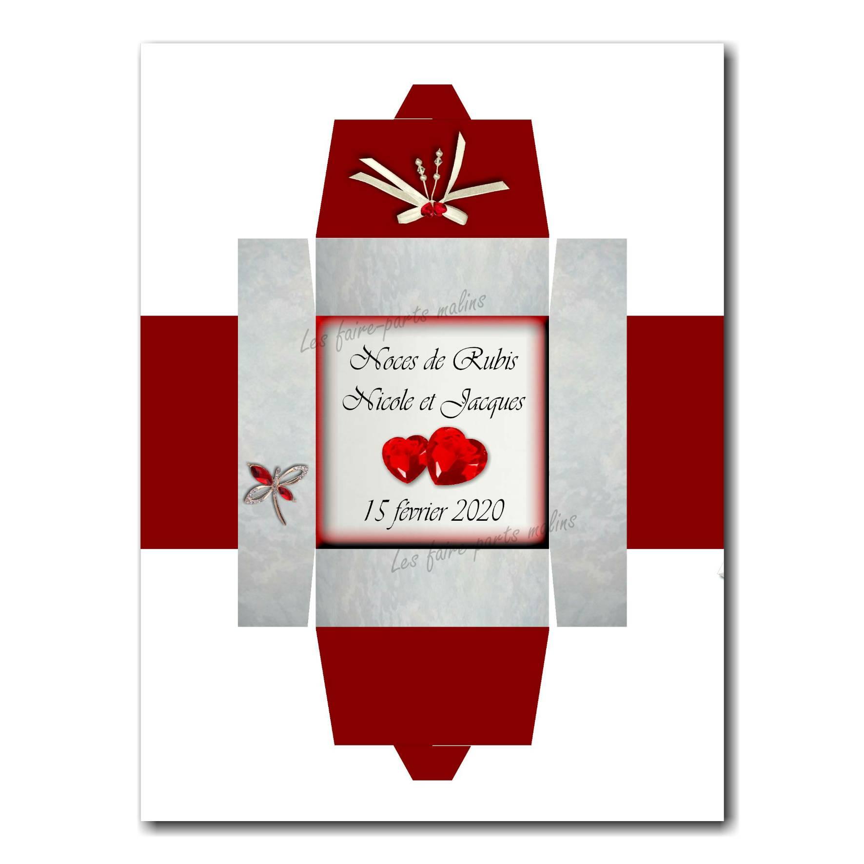Boite noces de rubis en rouge et blanc