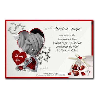 Faire part rubis noce de mariage rouge et blanc