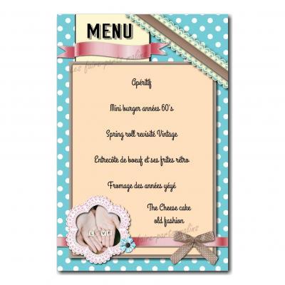 carte de menu vintage avec ruban dentelle année 50