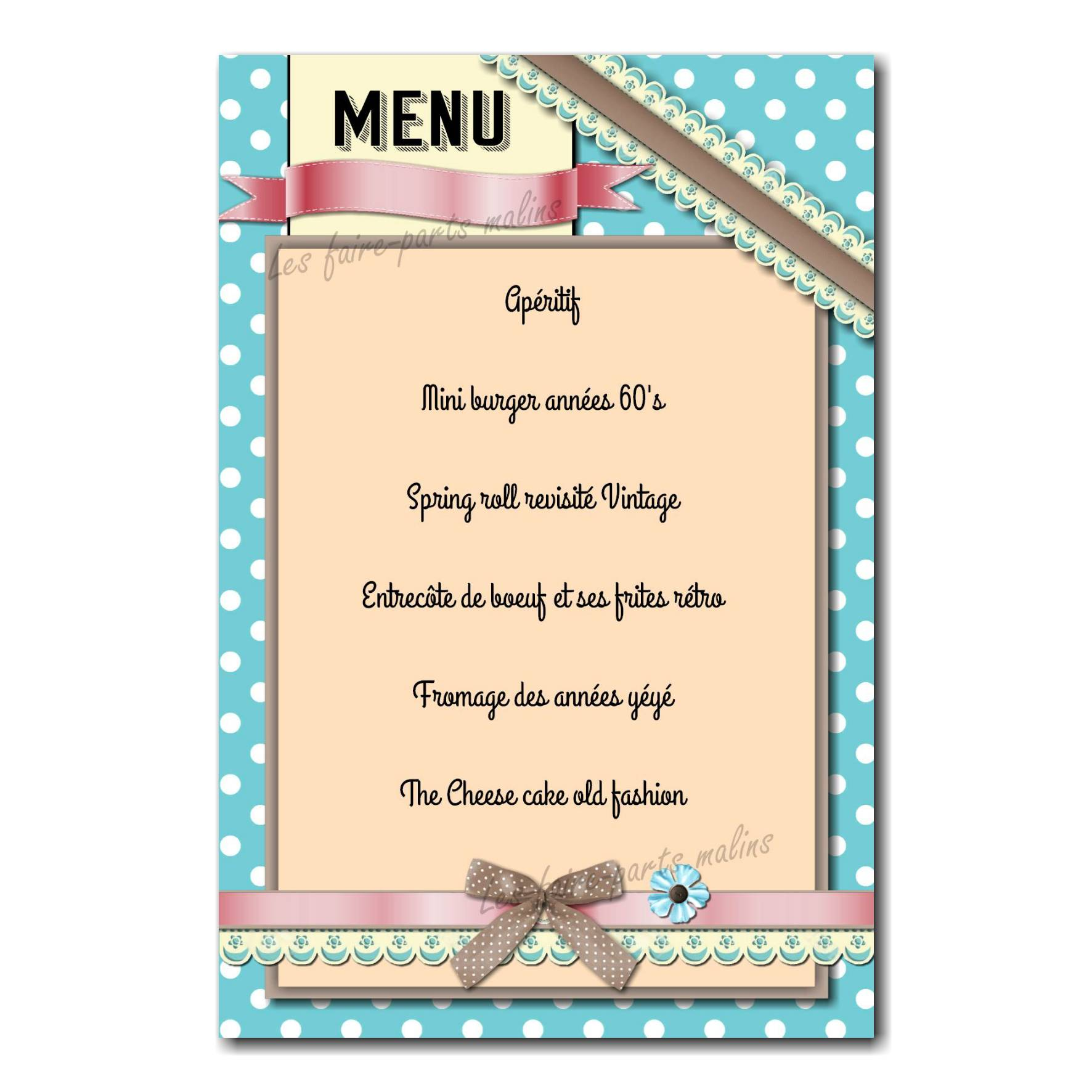 carte de menu vintage sur fond à pois bleu