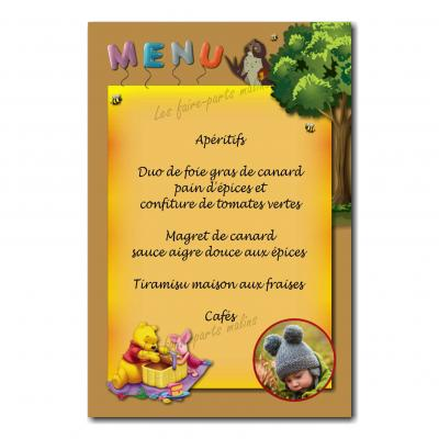 carte de menu winnie l'ourson orange