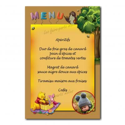 carte de menu winnie l'ourson orange