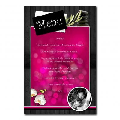carte de menu fuchsia et noir mariage zen