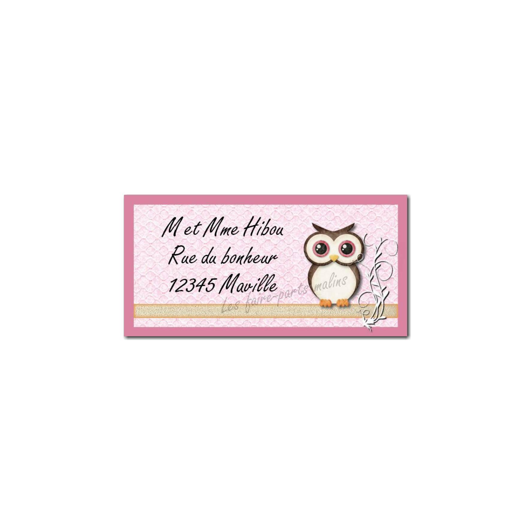 étiquette adresse hibou rose