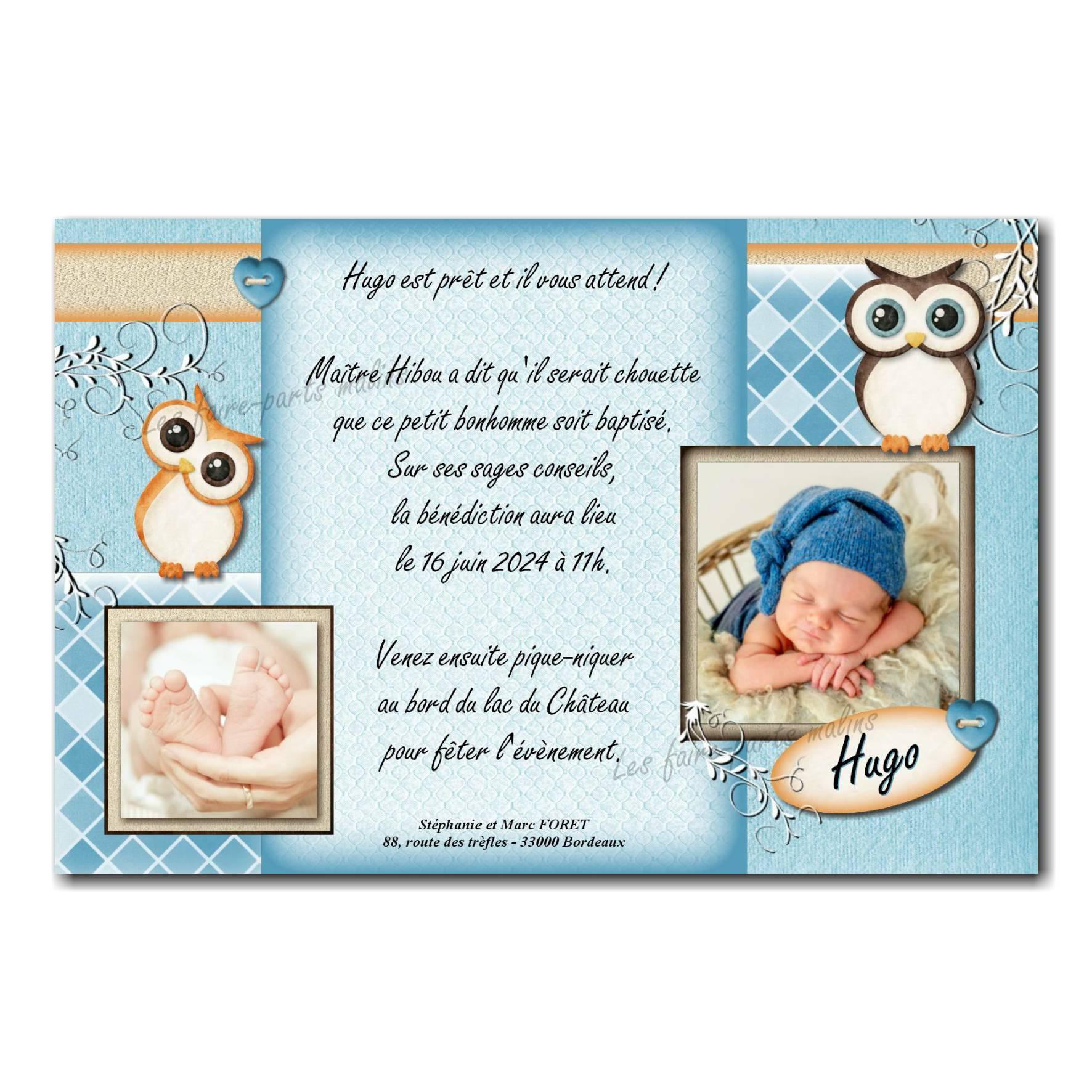 invitation baptême hibou bleu