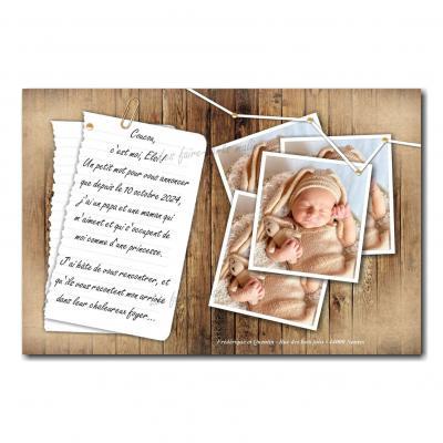 faire-part avec papier épinglée sur bois adoption