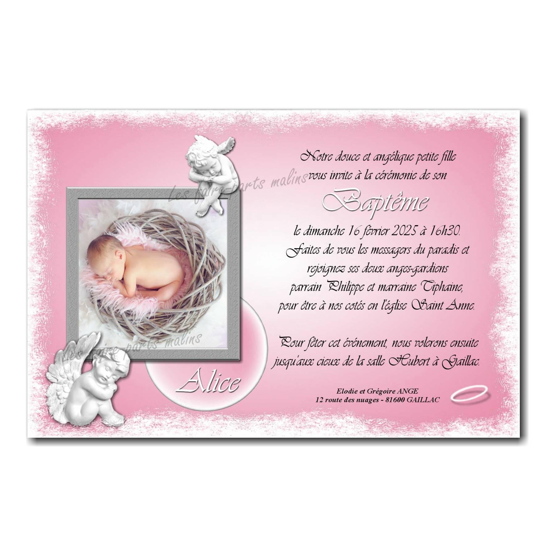 faire part ange rose et blanc photo