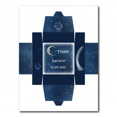 Boite dragées bleu foncé avec lune