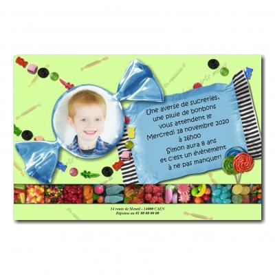 faire part papier de bonbon bleu et fond gourmand vert