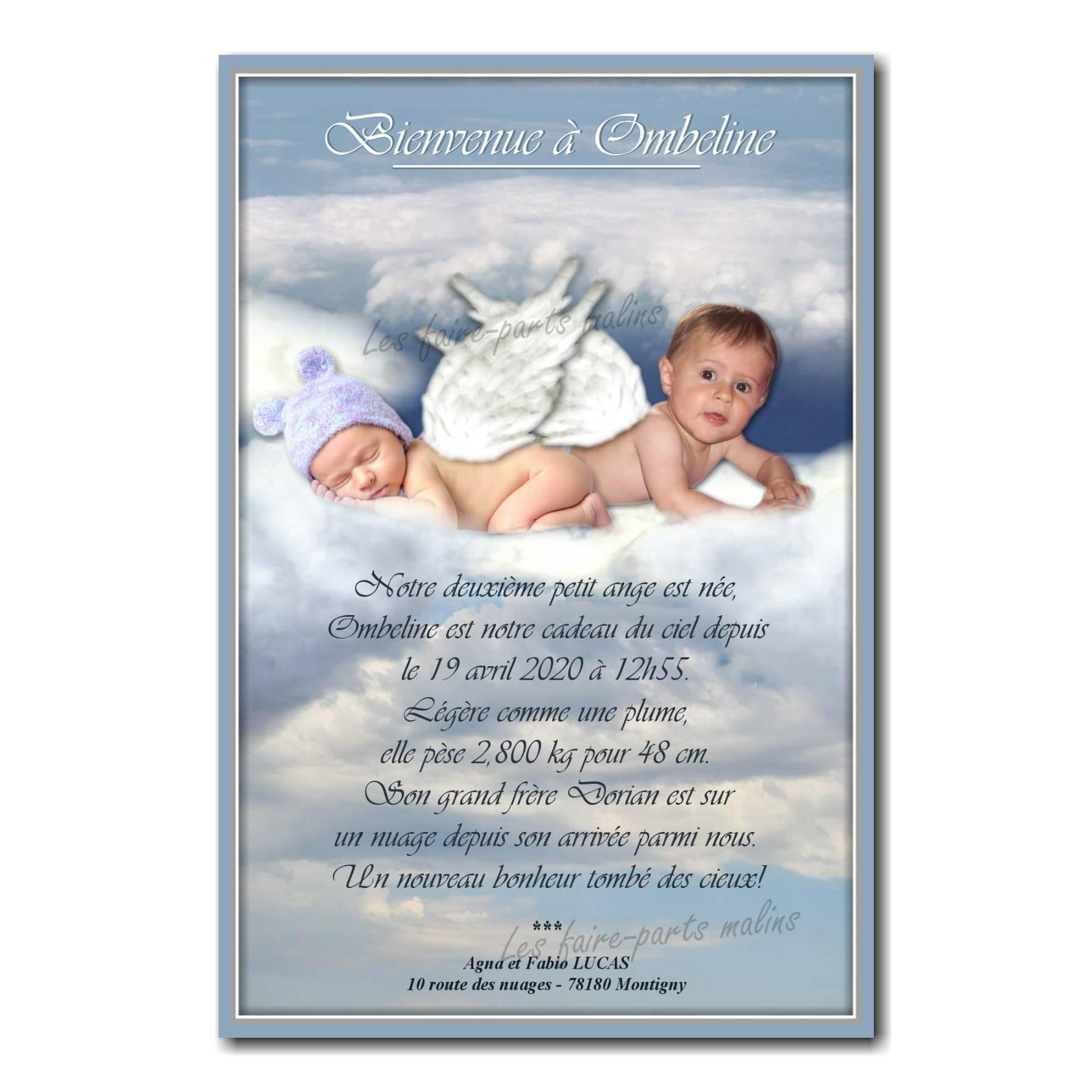 Faire part montage bébé ange dans les nuages