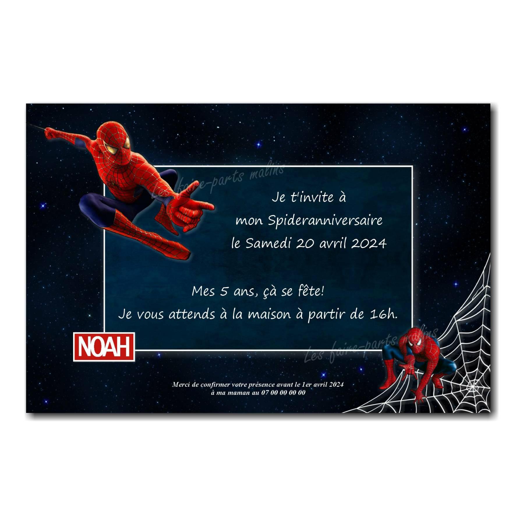 faire part spiderman bleu nuit