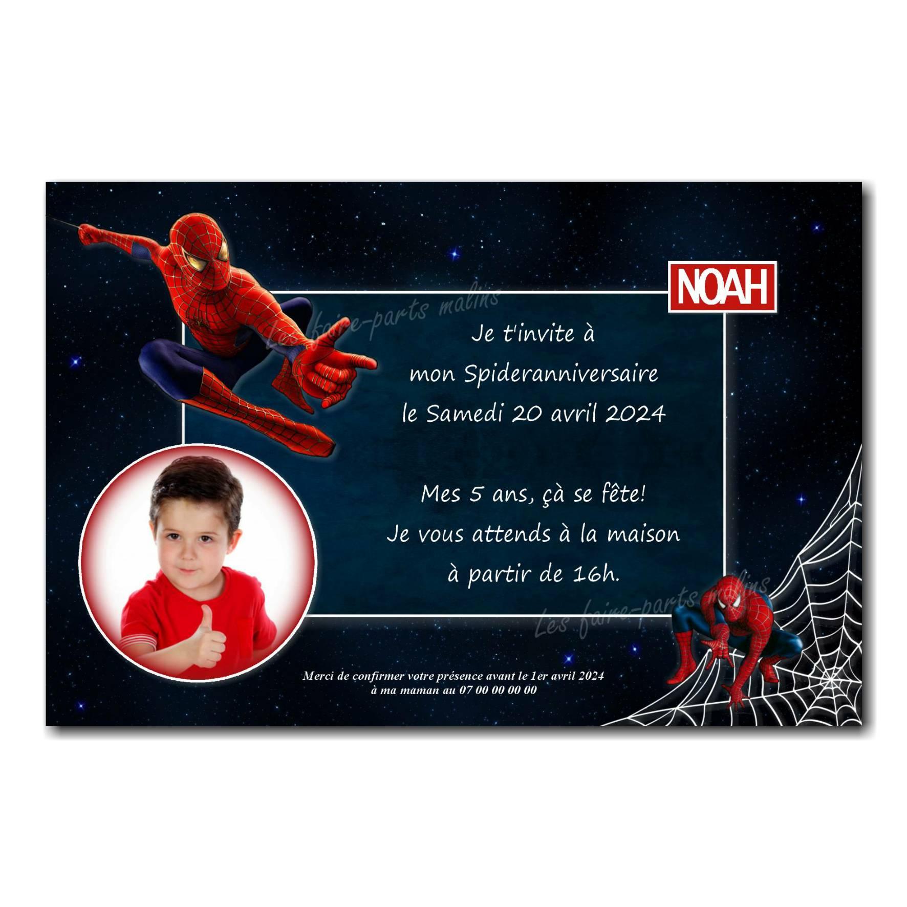 faire part anniversaire spiderman avec photo