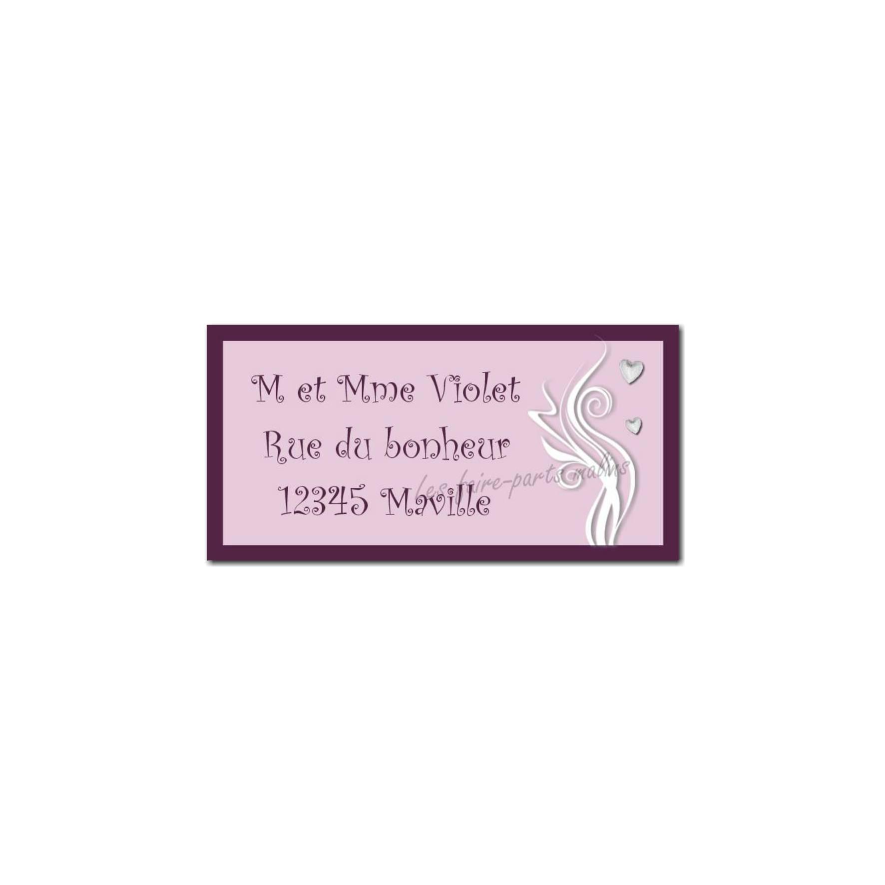 étiquette adresse violet et blanc