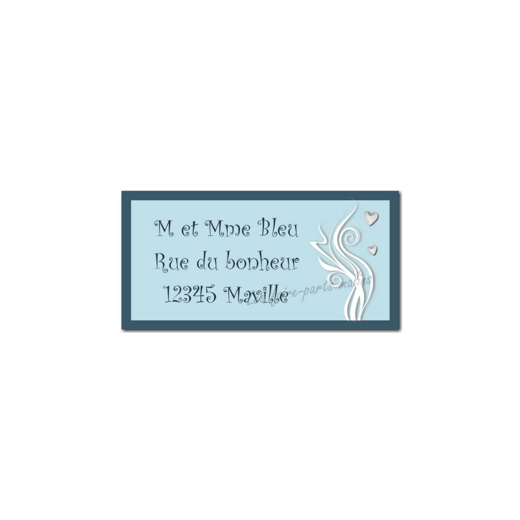 étiquette adresse bleu clair et foncé