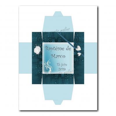 Boite à dragées bleu et blanc avec arabesque élégante