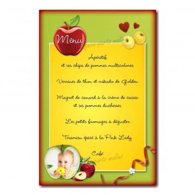 carte de menu coloré avec pommes rouges et vertes