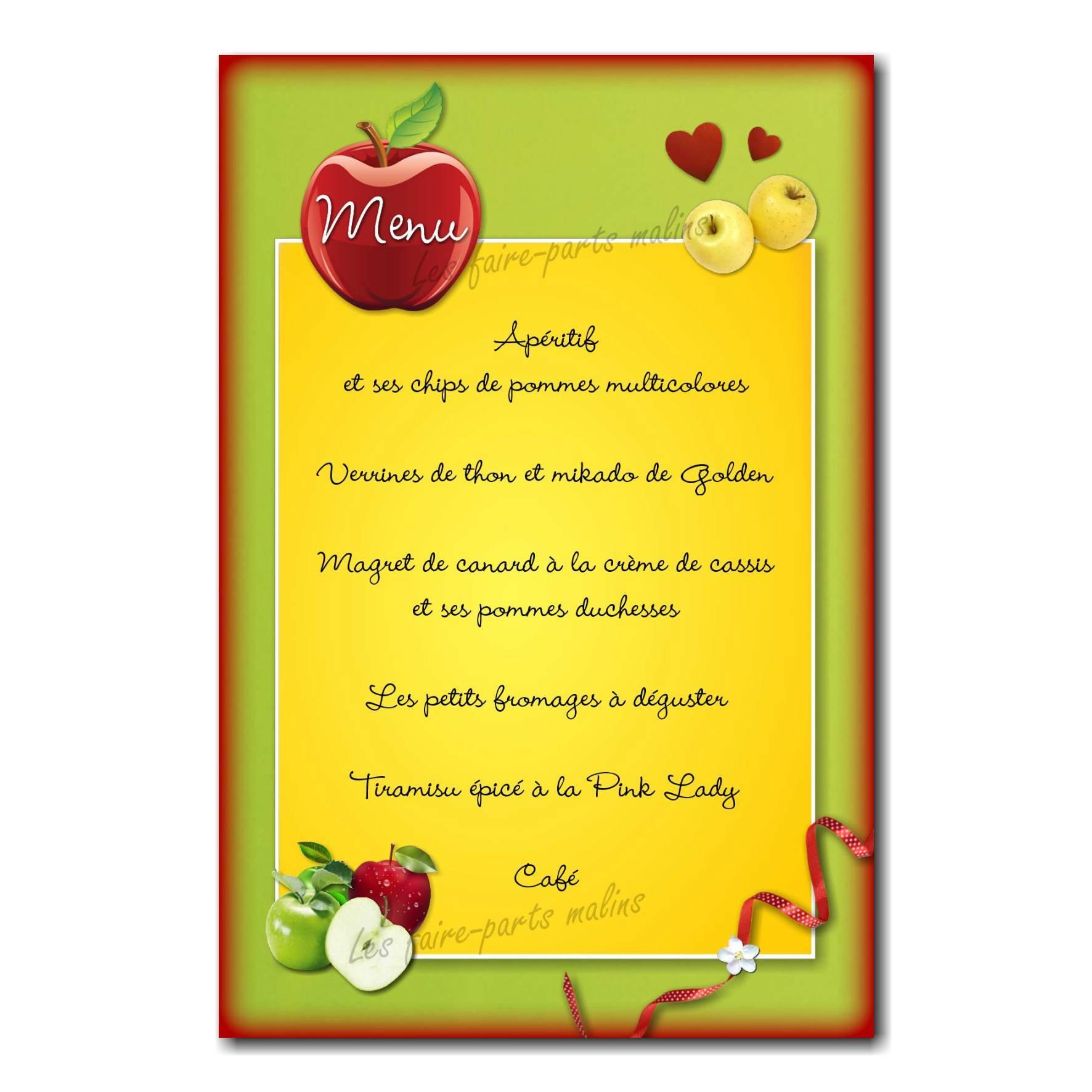 carte de menu rouge vert et jaune pomme golden