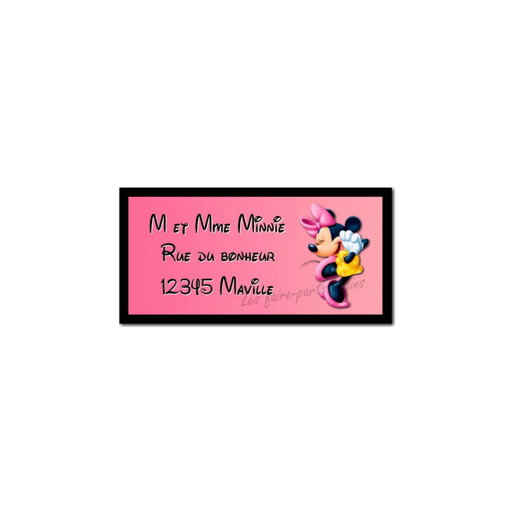 étiquette adresse Minnie la souris