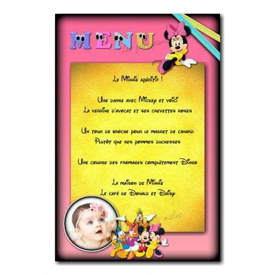 Menu Minnie rose et jaune