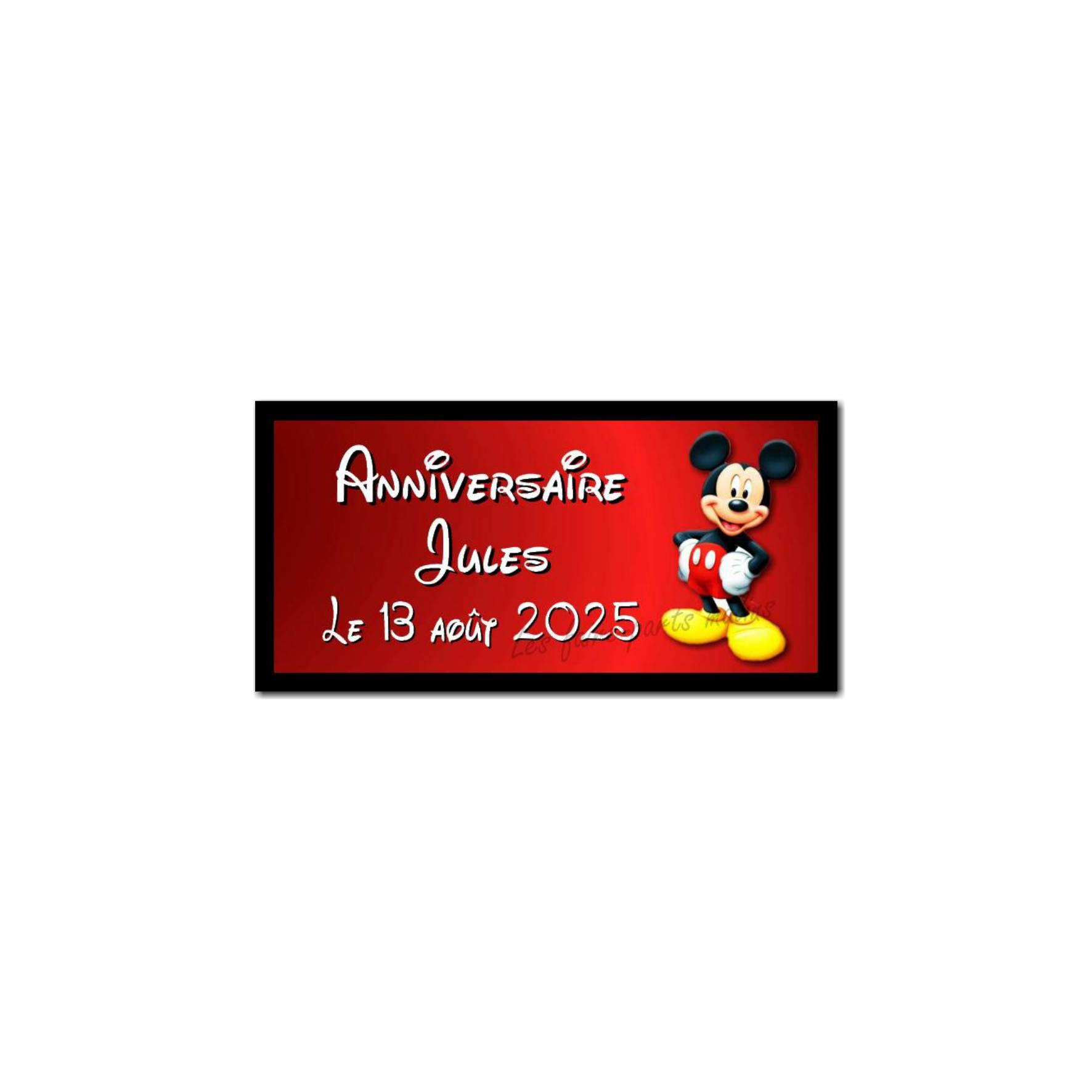 Etiquette dragees mickey rouge et noir