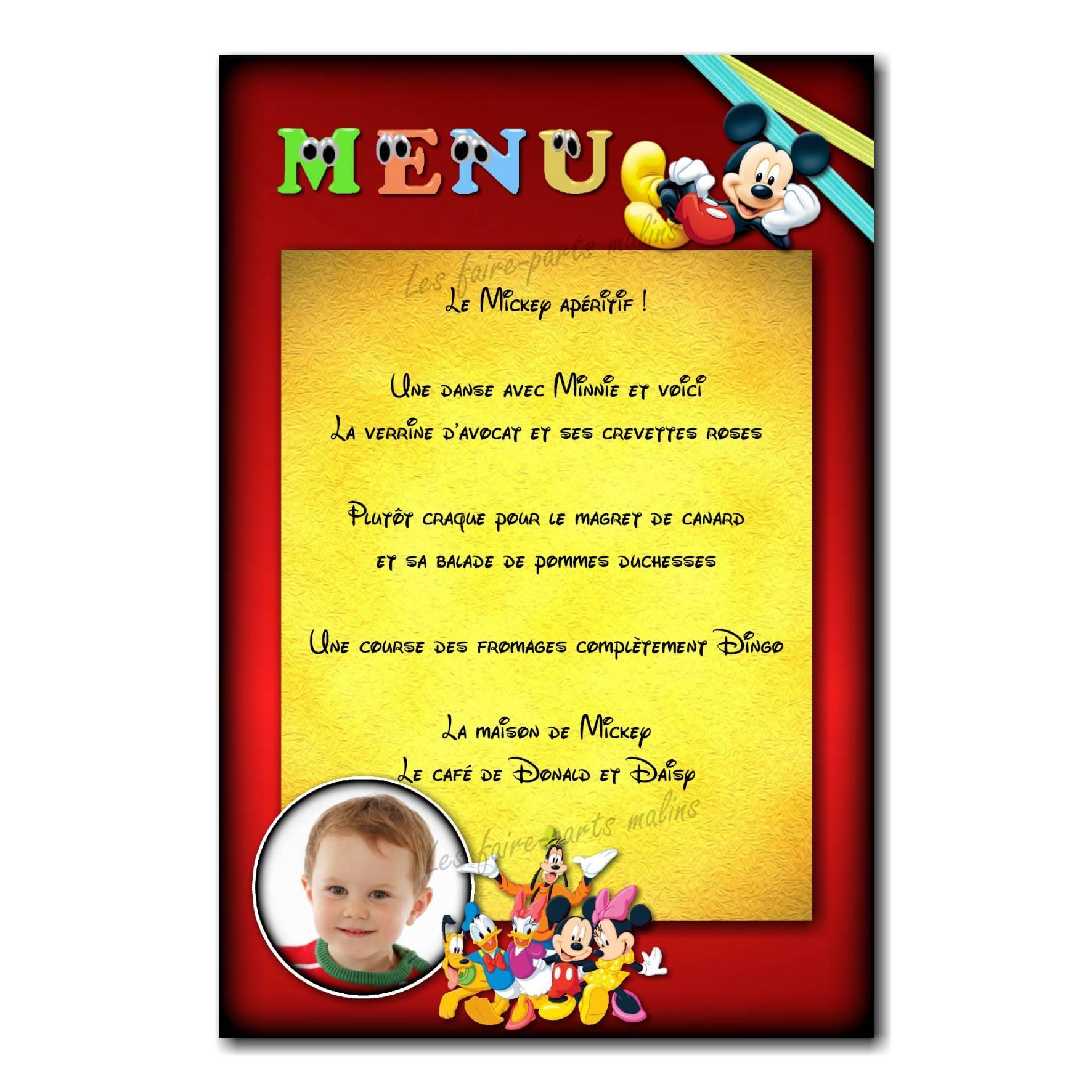 carte de menu Mickey