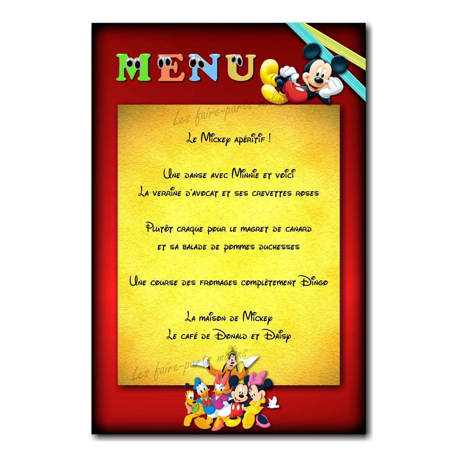 carte de menu mickey mousse